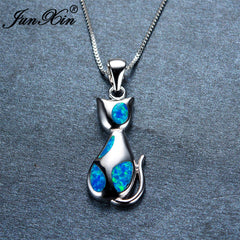 Blue Opal Filled Cat Necklaces by Sugar Cola