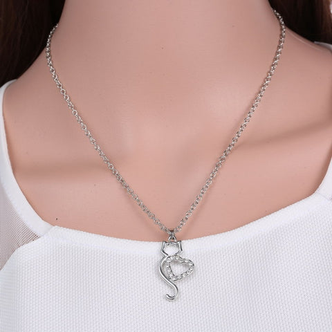 Crystal Heart Lovers Cat Necklace
