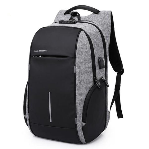 Grey anti pickpocket backpack by Sugarcola