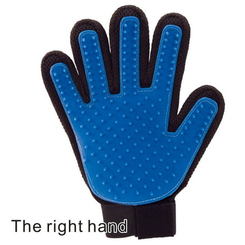 right handed blue pet grooming gloves for cats, dogs and horses