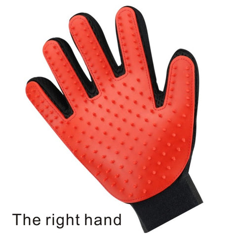 right handed red pet grooming gloves for cats, dogs and horses