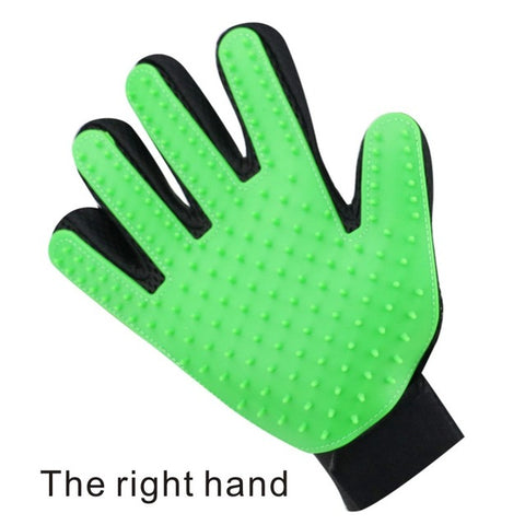 right hand green pet grooming gloves for cats, dogs and horses