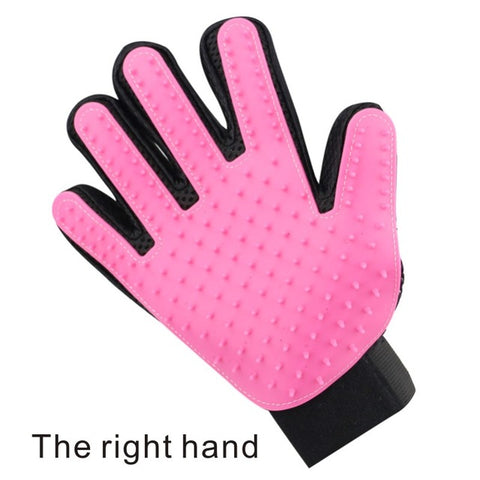 right handed pink pet grooming gloves for cats, dogs and horses