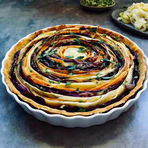 Spiral Vegetable Tart and Creamy Vegan Sauce