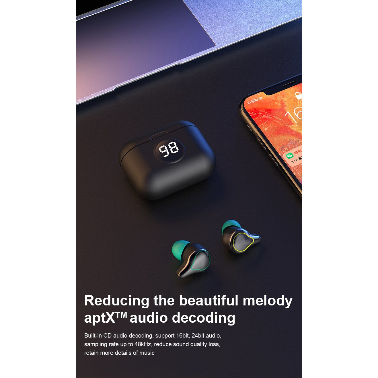 SE-16S TWS Wireless Bluetooth 5.0, Stereo Touch, Sweatproof In-ear Earbuds for iOS/Android