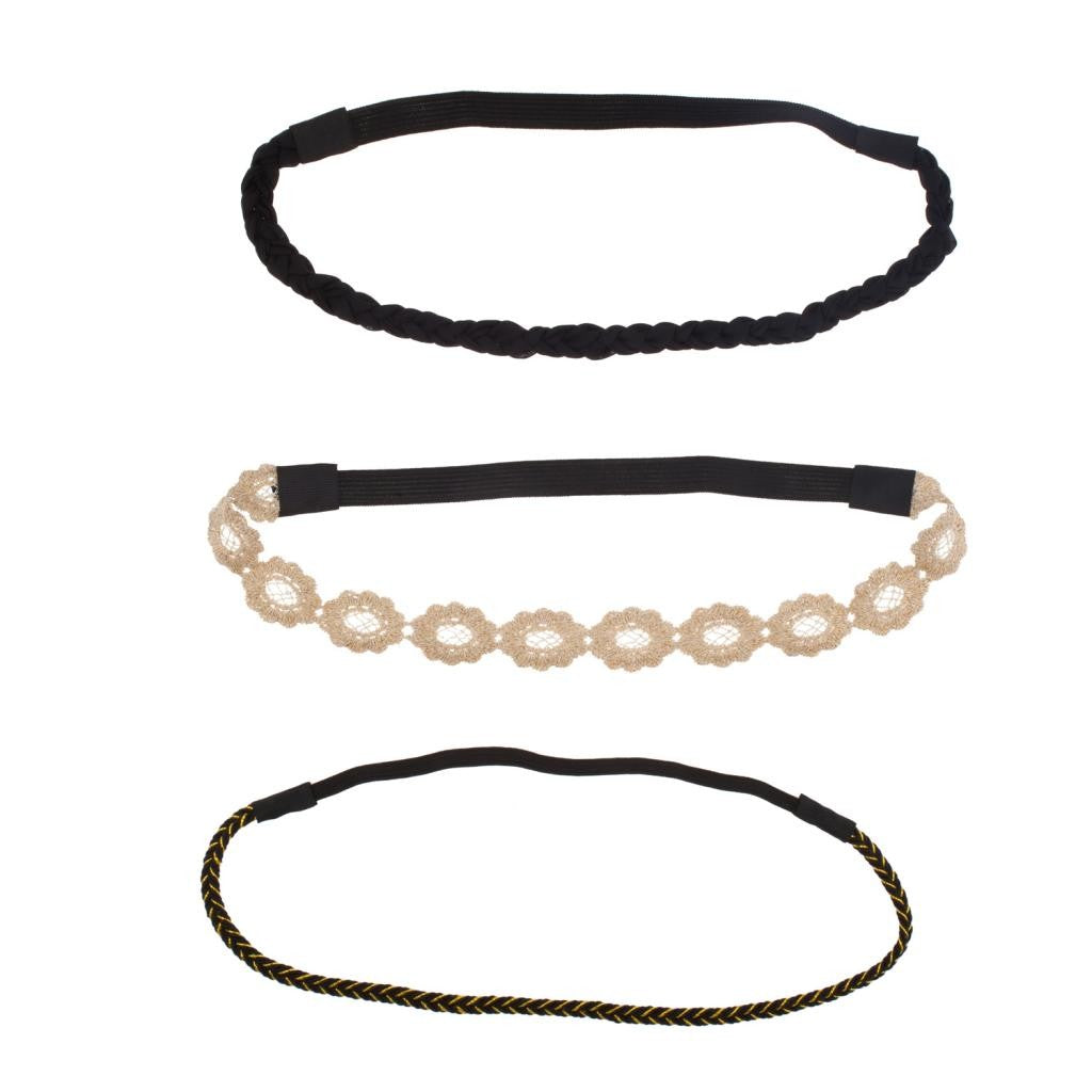 Lace Woven Black Stretch Headband Set Head Band (3 PC)