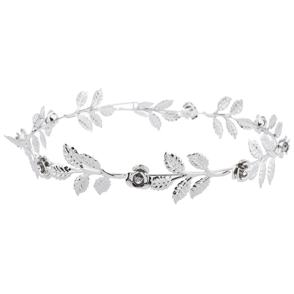Silver tone and Rhinestone Leaf Leaves Metal Flower Crown