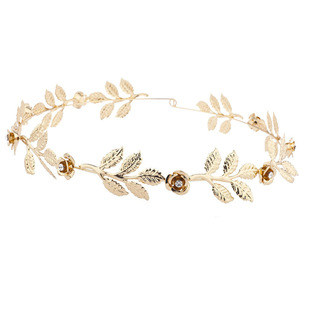 Gold tone and Rhinestone Leaf Leaves Metal Flower Crown