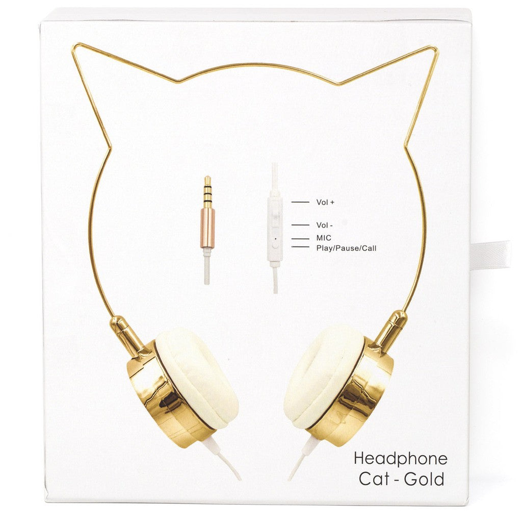 Gold Cat Ear Headphones Wire Frame Headset w Microphone