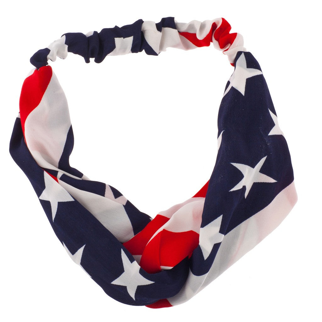 American Flag Stars Stripes 4th Of July Stretch Headband Head Band