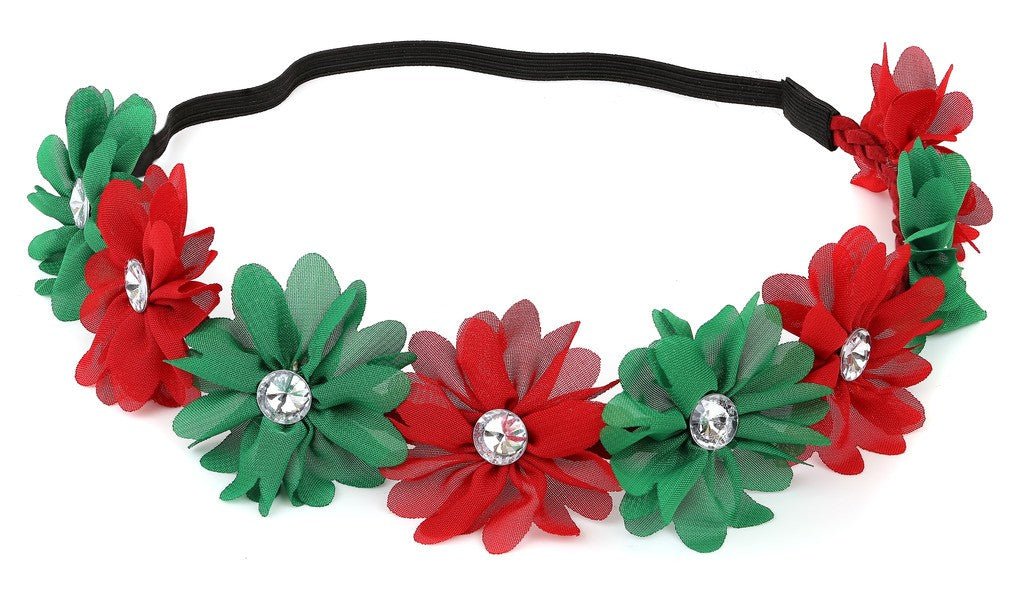 Girls Xmas Holiday Christmas Crown Green Red Floral Headband