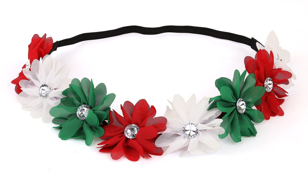 Xmas Holiday White Christmas Crown Green Red Floral Headband