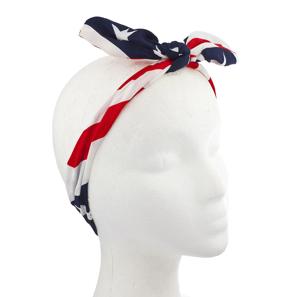 American Fourth Of July American Flag Bow Headwrap Headband