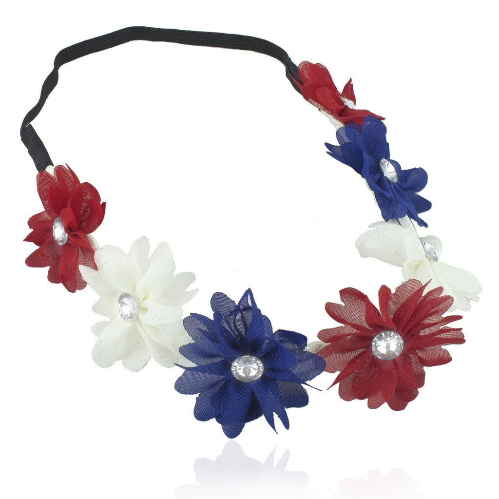 Red White Blue American Flag 4th Of July Independence Floral Flower Stretch Crystal Headband Head Band