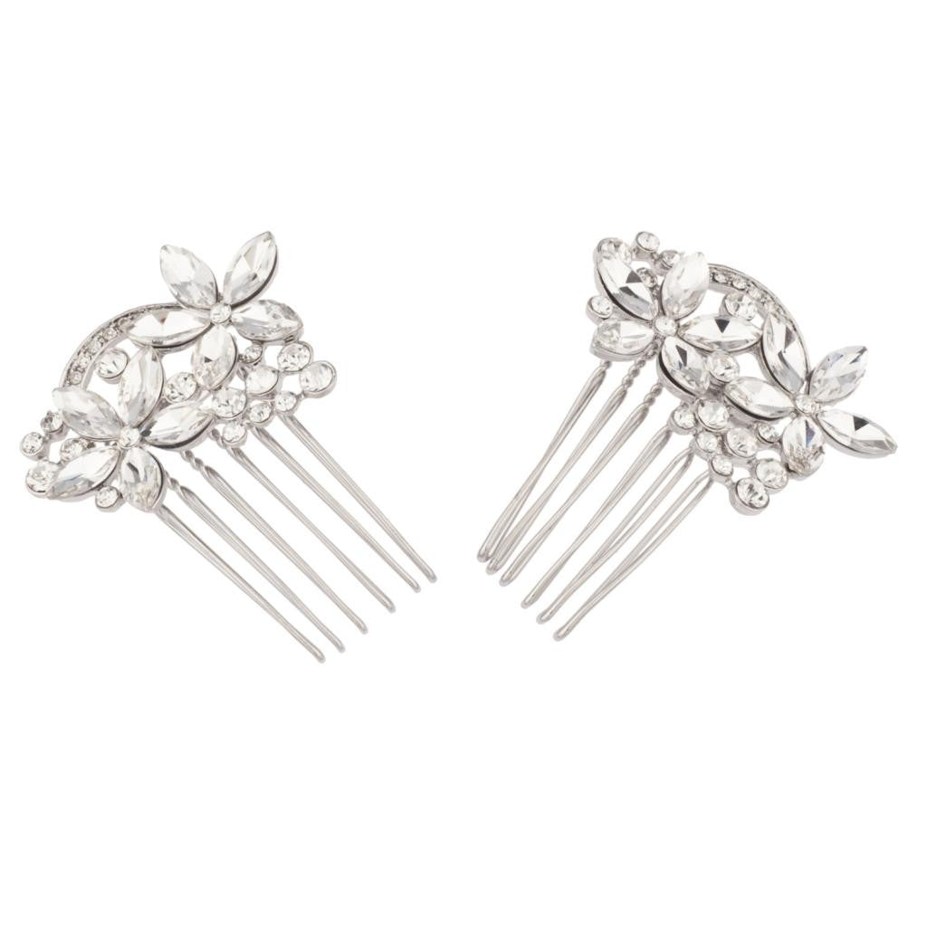 Floral Crystal Pave Flower Bridal Hair Comb Set
