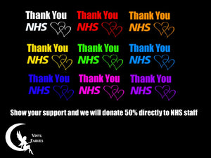 NHS THANK YOU CAR STICKER 50% DONATION TO NHS STAFF