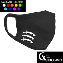 Load image into Gallery viewer, personalised black cottonface mask with essex three swords symbol