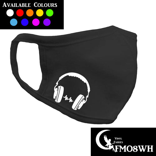 personalised black cottonface mask with a picture of headphones