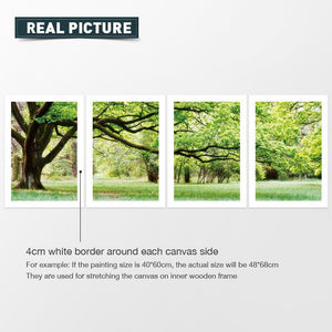 4 Panel Tree Landscape Canvas Oil Painting | No Frame | spray Painting