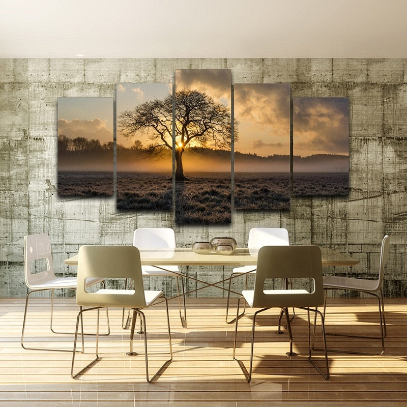 Pictures 5 Panel Poster Sunrise, Tree Landscape Vintage Wall Art