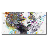 DP ARTISAN Modern wall art girl with flowers oil painting | Spray Painting