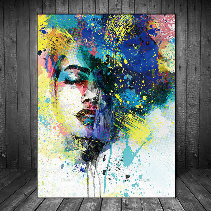 Abstract painting art figures on canvas
