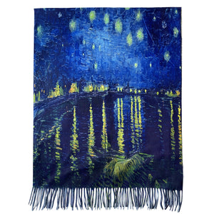 Gyapjú Sál-Kendő, 70 cm x 180 cm, Van Gogh - Starry Over The Rhone