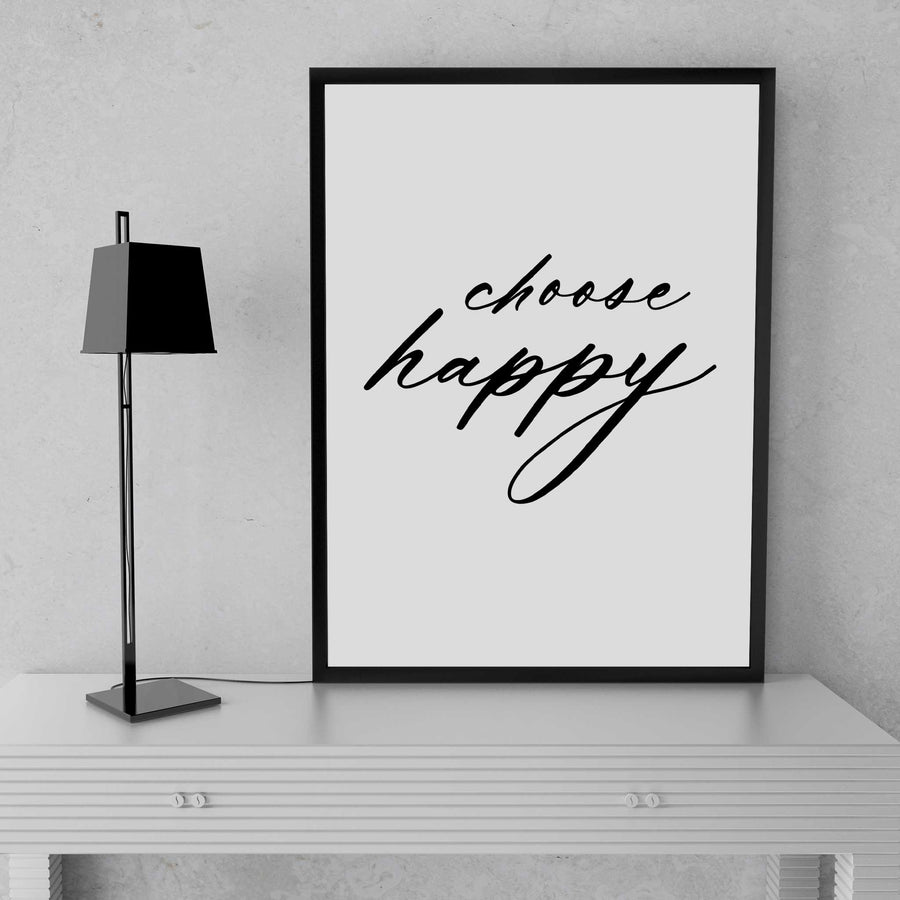 Happy quotes wall art print