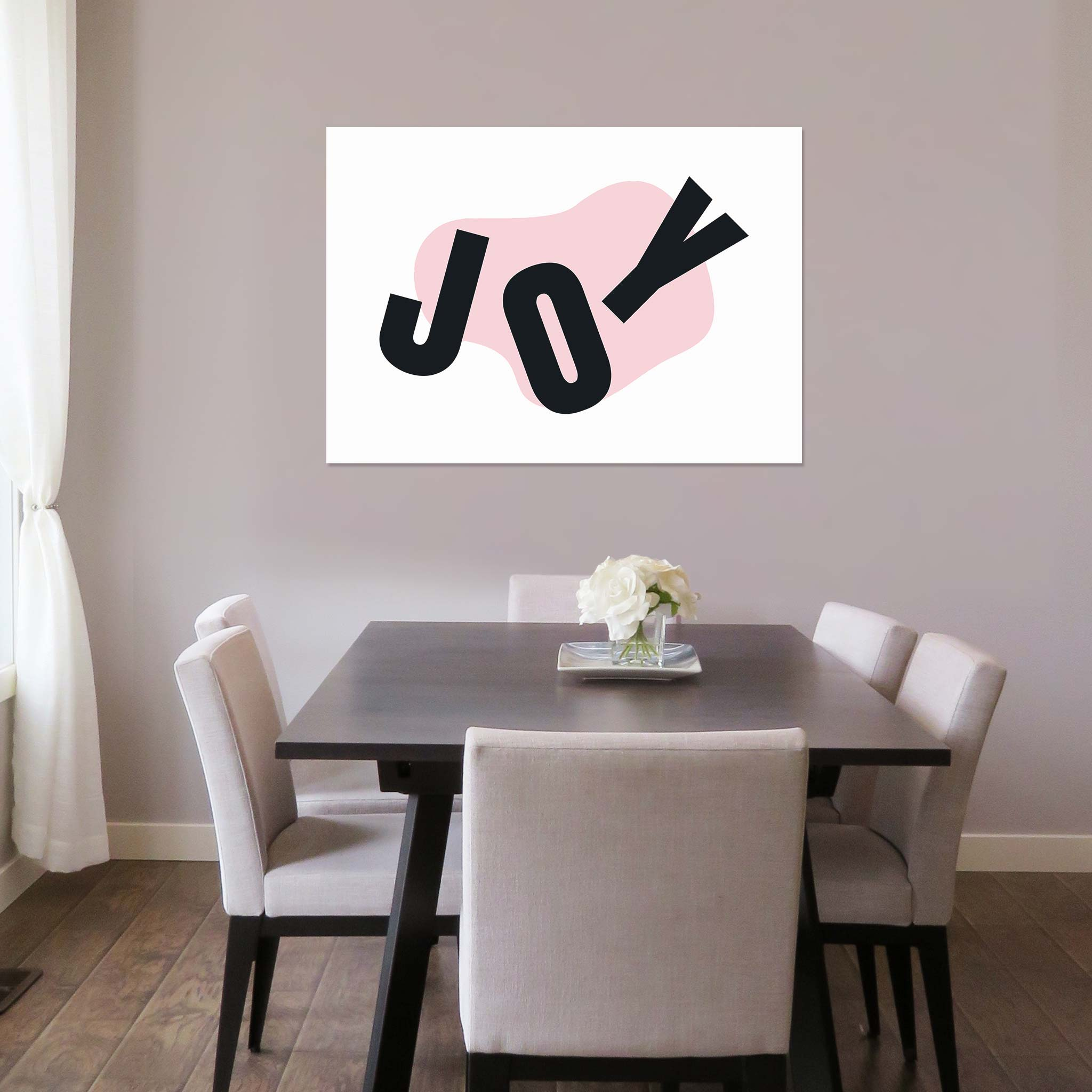 JOY (large letters spread across the canvas)