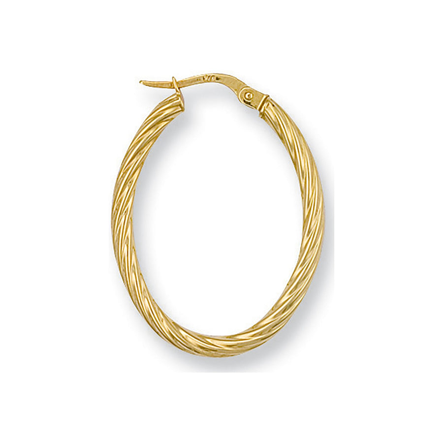 Y/G Twisted Oval Hoop Earrings