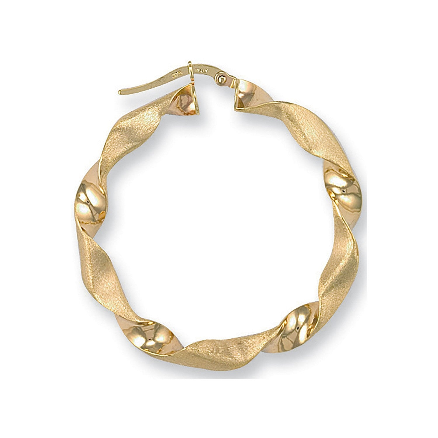 Y/G Frosted Twisted Hoop Earrings