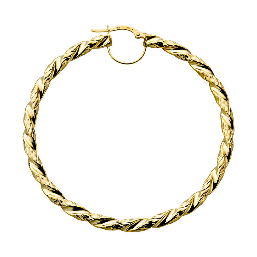 Y/G Fancy Twisted Hoop Earrings