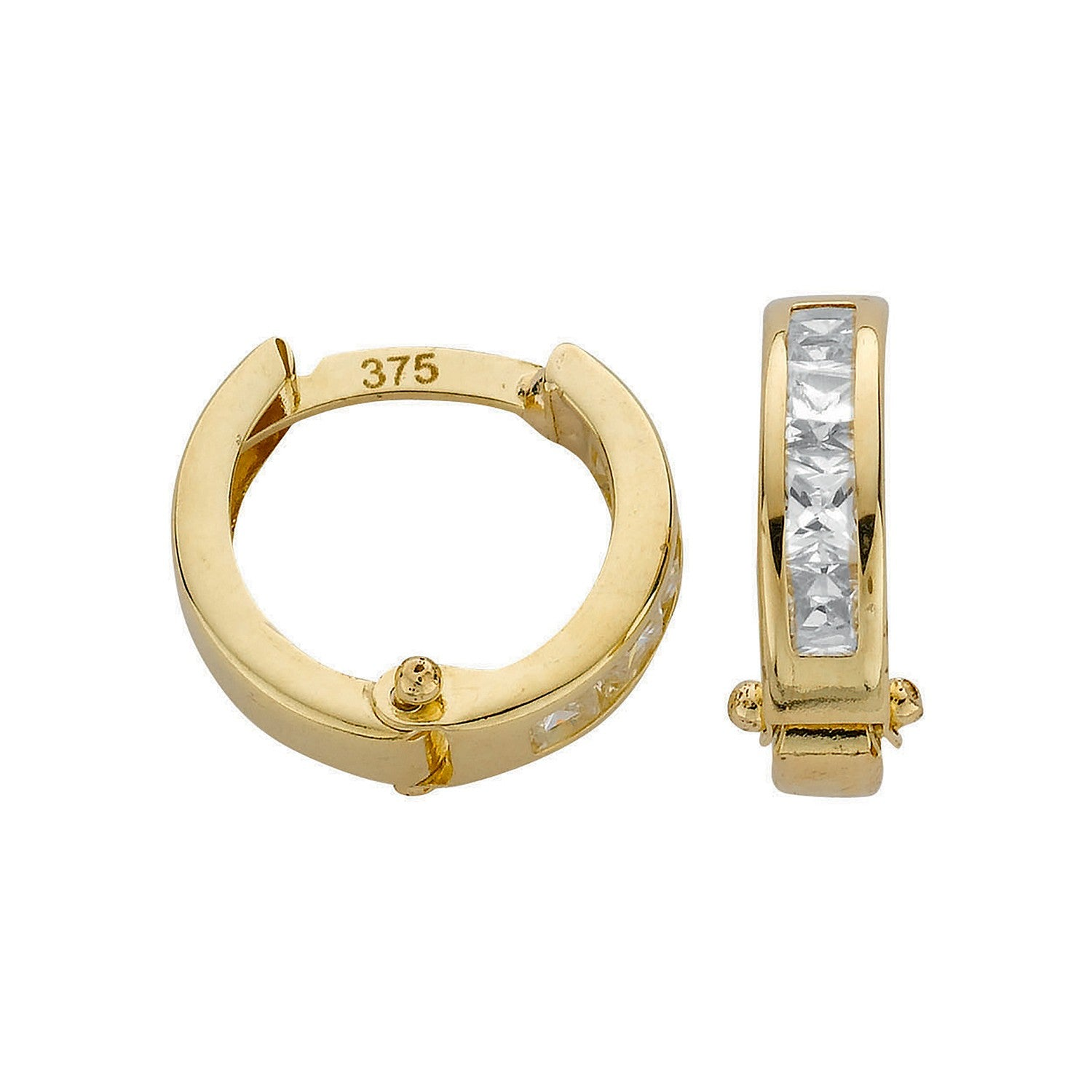 Y/G Princess Cut Cz Hoop Earrings