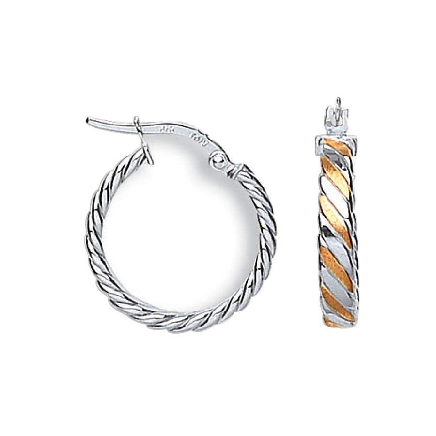 W & R/G Twisted Hoops Earrings