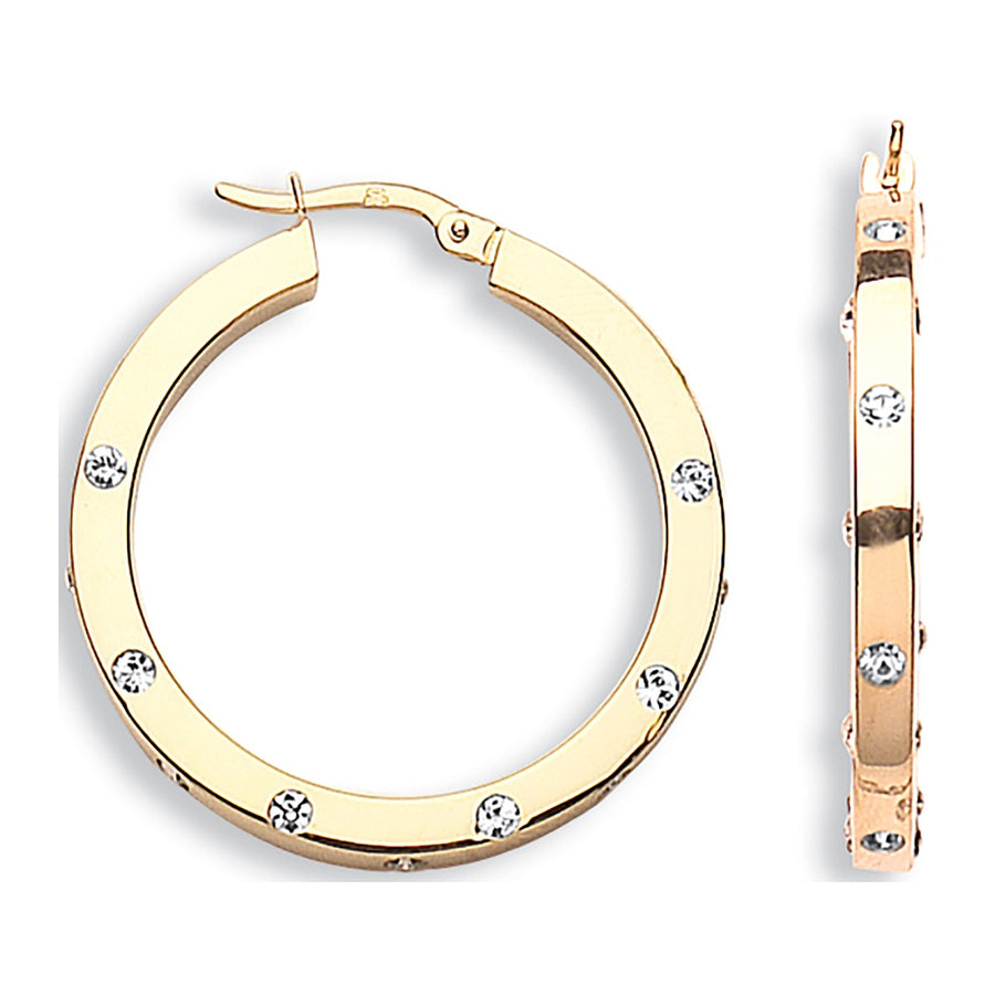 Y/G Cz Hoop Earrings