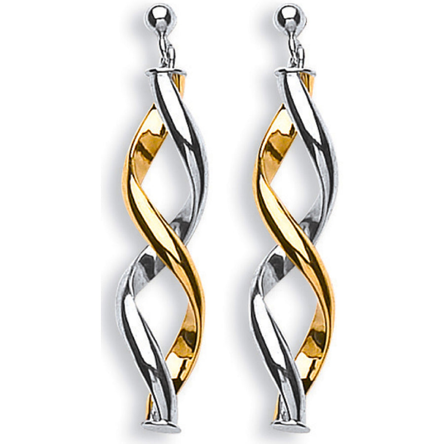 Y & W/G Fancy Twisted Drop Earrings