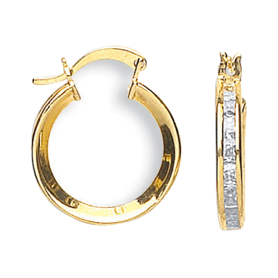 Y/G Princess Cut Cz Hoops