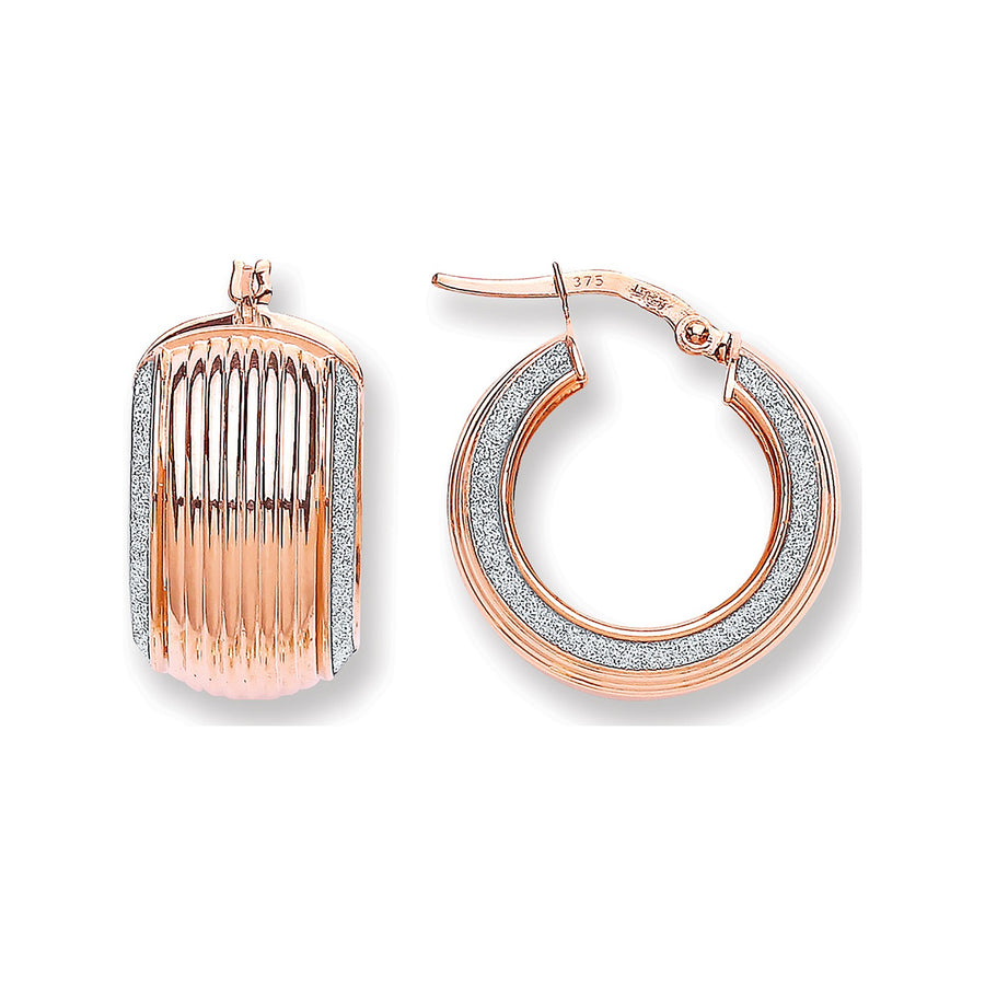 R/G Wide Ribbed Moondust Edge Earring