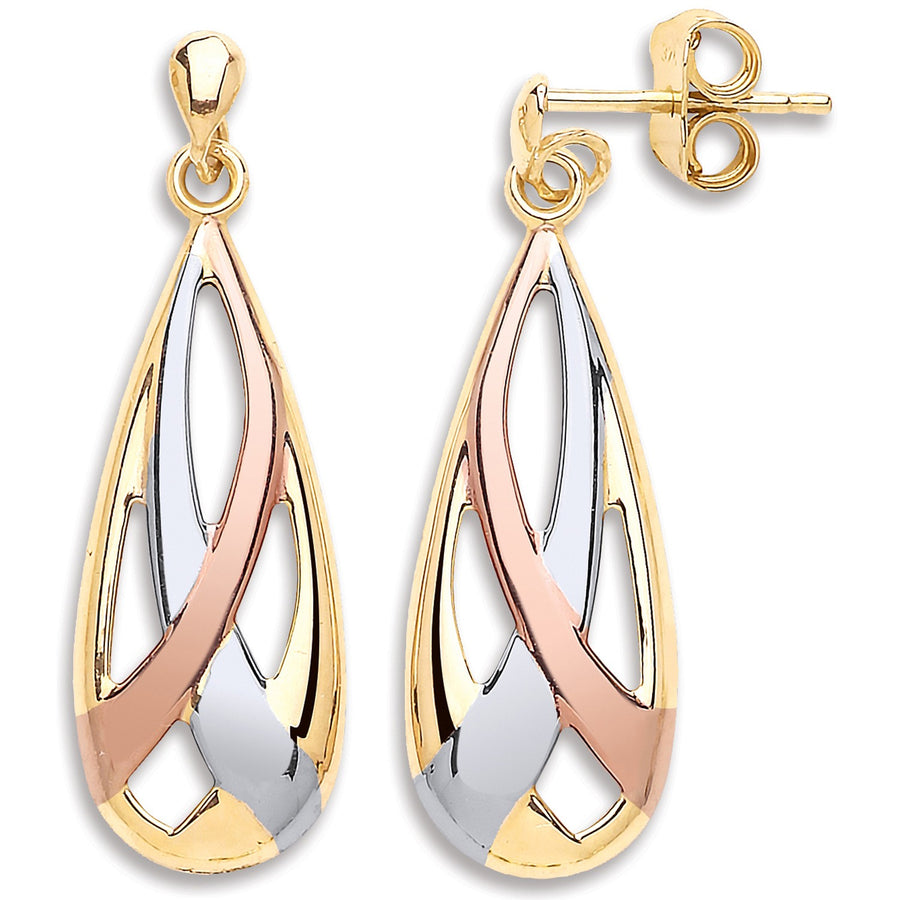 Y W & R/G Tear Drop Earrings