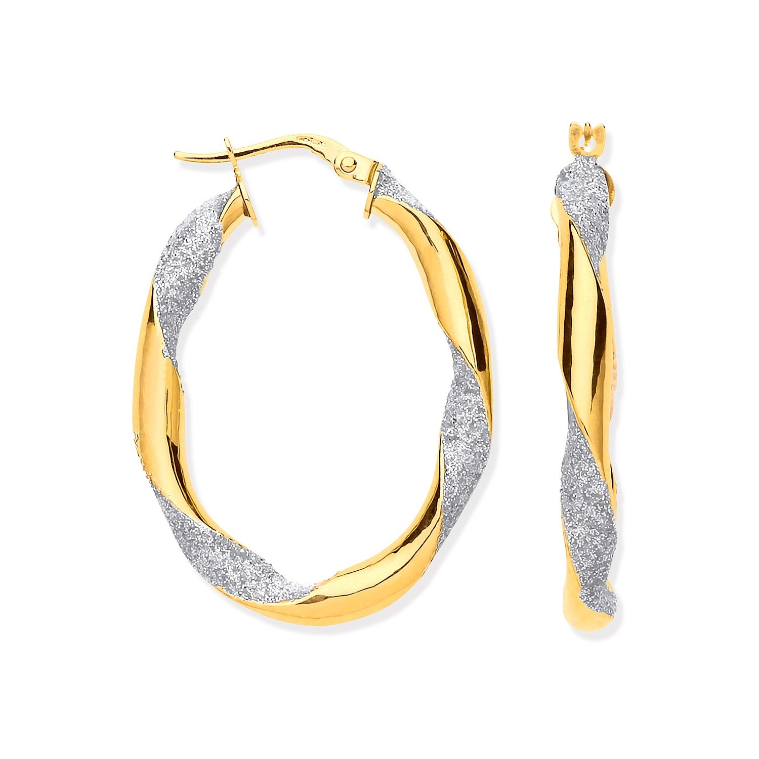 Y/G Glitter Finish Twisted Oval Hoop Earrings