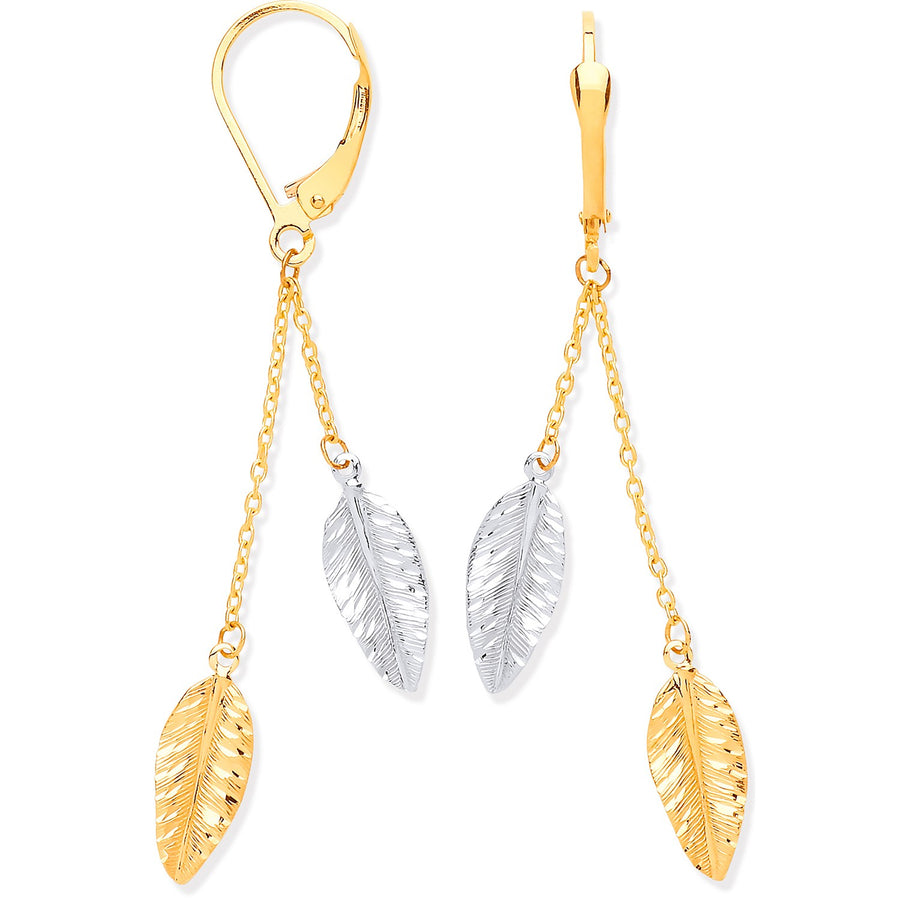 Y & W/G Leaf Drop Earrings