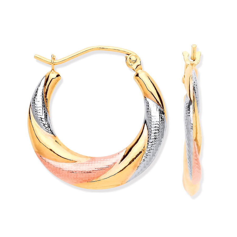 Y, W & R/G Twist Hoop Earrings