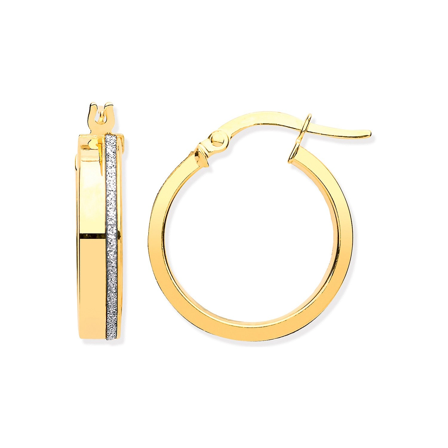 Y/G Plain & Moondust Hollow Hoop Earrings