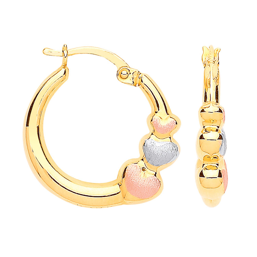 Y/G with R&WG Satin Finish Hearts Hoop Earrings