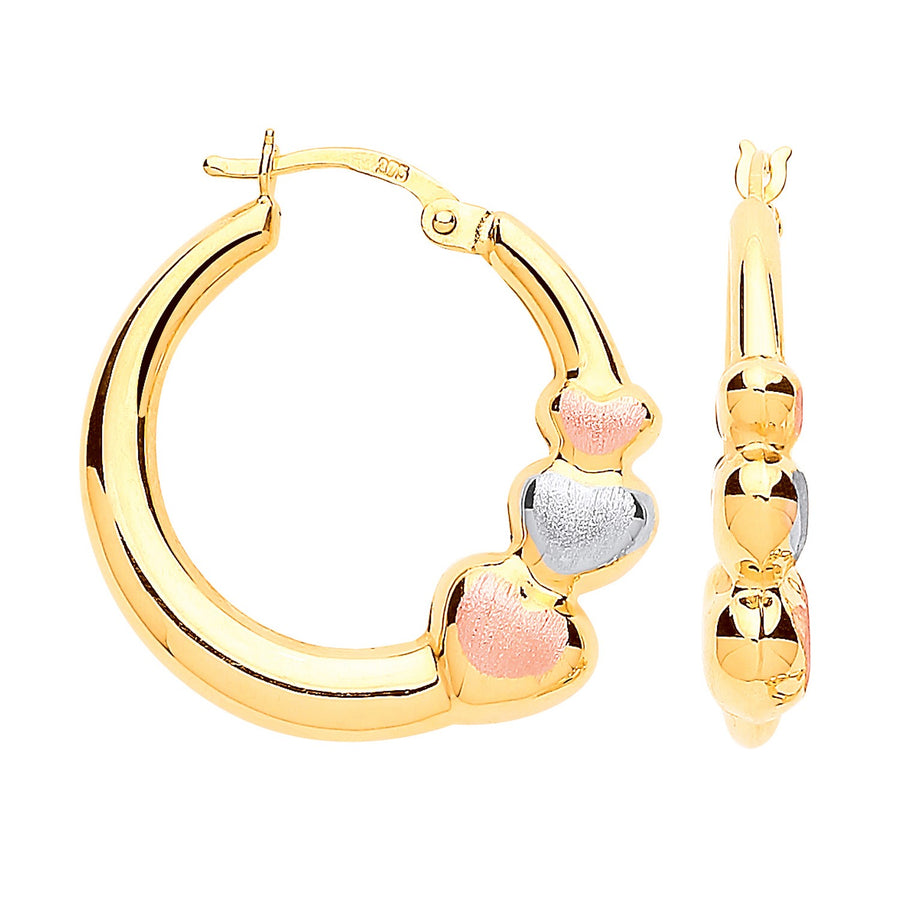 Y/G with R&WG Satin Finish Large Hearts Hoop Earrings