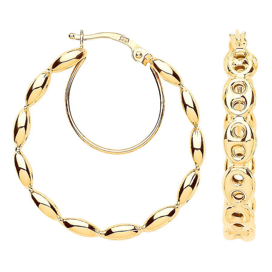 Y/G Coffee Bean 25mm Hoop Earrings