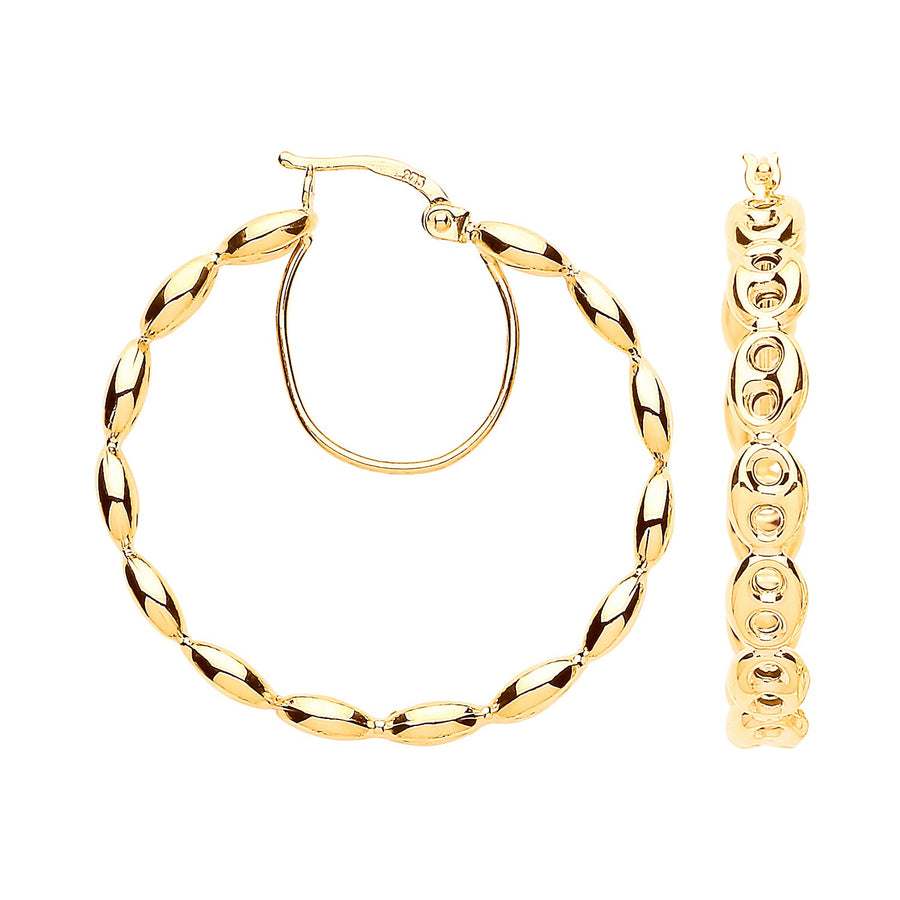 Y/G Coffee Bean 30mm Hoop Earrings