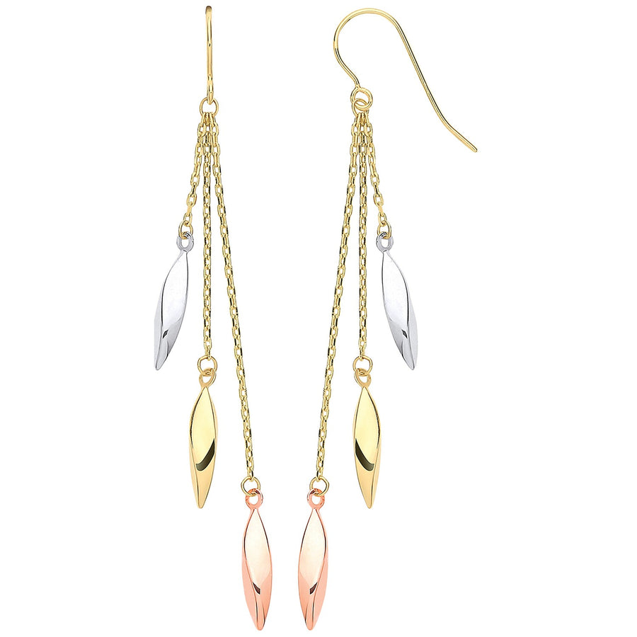 Y, W & RG Twisted Tubes Hollow Drop Earrings