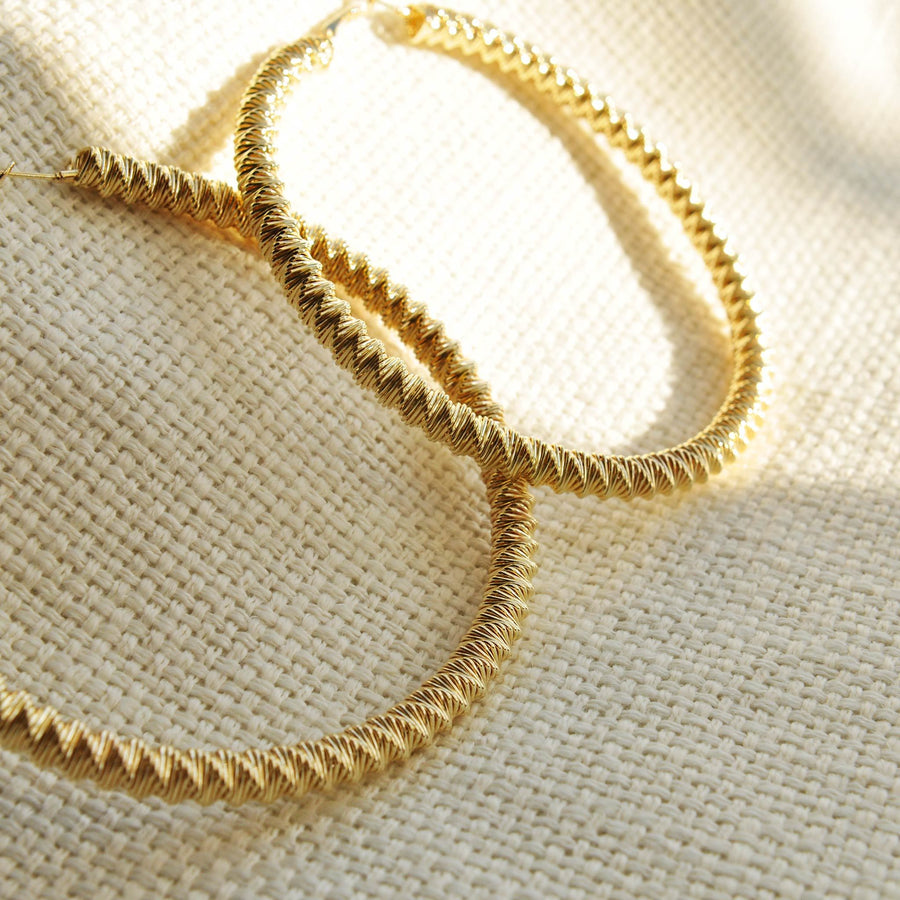 Tara large gold effect hoops