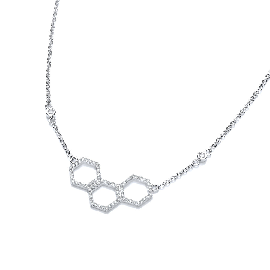 Honeycomb Style Pendant Silver Cz Necklace